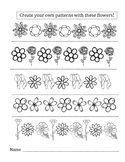 Math Flower Pattern Worksheet