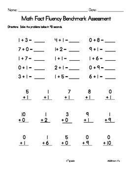 1st grade Math Fluency Benchmark Assessments