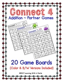 Math Fluency CONNECT 4 Addition ~ 20 Boards Color & B/W Ve