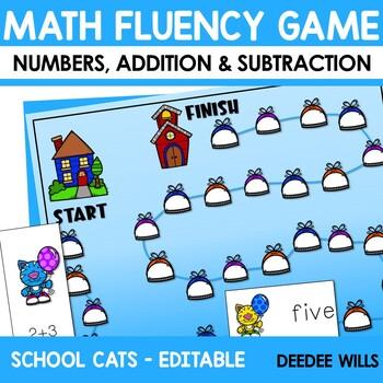 Math Fluency:  Cool School Cats Editable