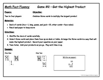 Math Fluency Game 1 and 2