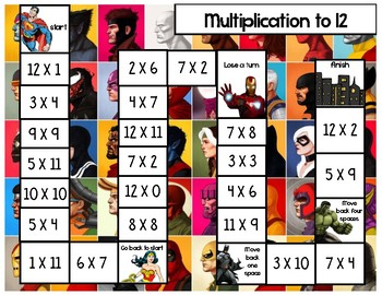 Math Fluency Game Multiplication Superhero Theme