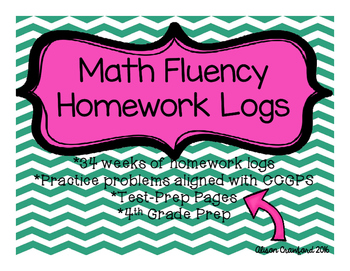 Math Fluency Homework Logs - 34 weeks!