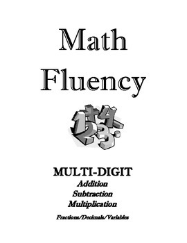 Math Fluency I-V  Multiply, Divide, Add, Subtract, Decimals, Fractions