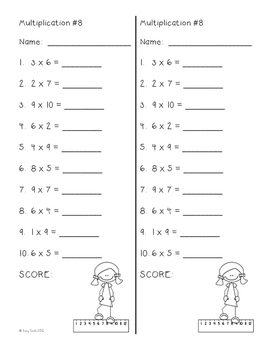 Math Fluency - Multiplication to 10 - Multiplication Time Tests