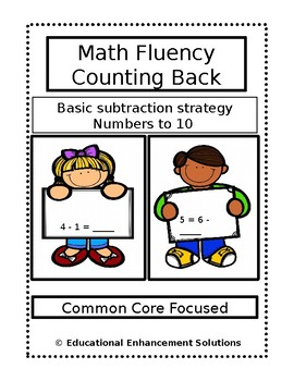 Math Fluency Practice (Counting Back Subtraction Strategy) Numbers to 10