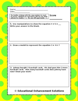 Math Fluency Practice (Doubles + 1 Addition Strategy) Numbers to 20