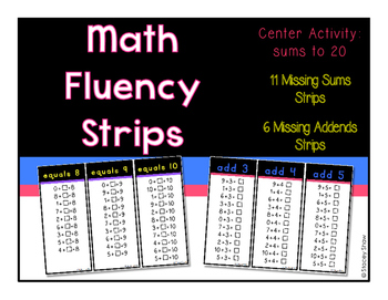 Math Fluency Strips (Flash Cards)