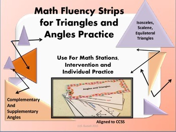 Math Fluency Strips for Triangles and Angles Vocabulary