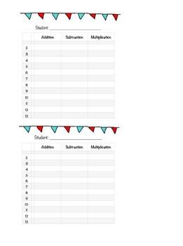 Math Fluency Tracker - Color