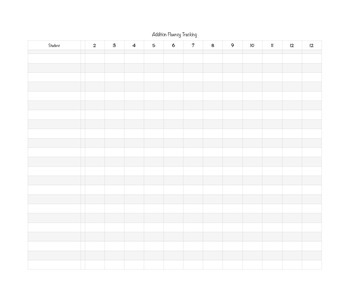 Math Fluency Tracker - Black/White