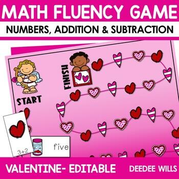 Math Fluency:  Valentine's Day Editable