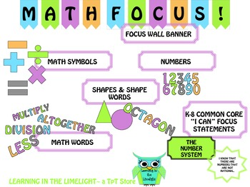 Math Focus Bulletin Board Set: K-8 Common Core Focus Statements