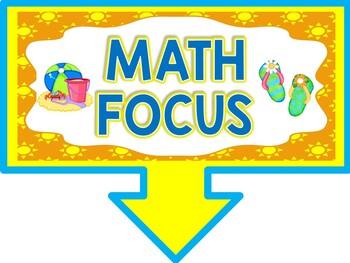 Math Focus Wall Bulletin Set ~ BEACH Themed