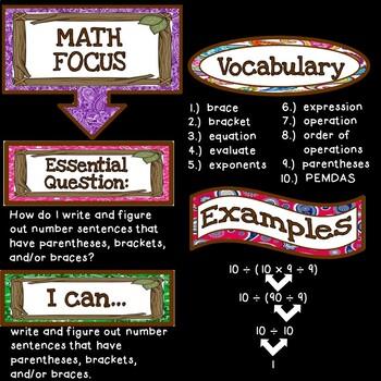 Math Focus Wall Bulletin Set ~ CAMPING Themed