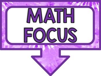 Math Focus Wall Bulletin Set ~ GROOVY TIE-DYE PURPLE Themed