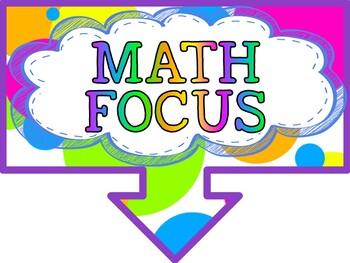 Math Focus Wall Bulletin Set ~ HOT AIR BALLOON Colors Themed