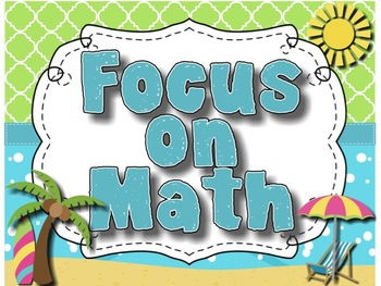 Math Focus Wall CCSS and Essential Questions for 3rd Grade Beach Theme