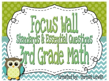 Math Focus Wall Common Core Standards and Essential Questions for 3rd Grade