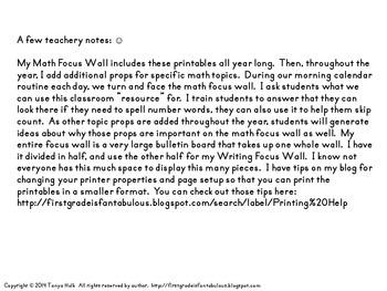 Math Focus Wall Printables