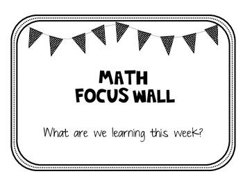Math Focus Wall and Calendar - Polka Dot Bunting