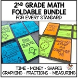 Math Foldable Bundle with Time Money Shapes Fractions Measuring and Graphing
