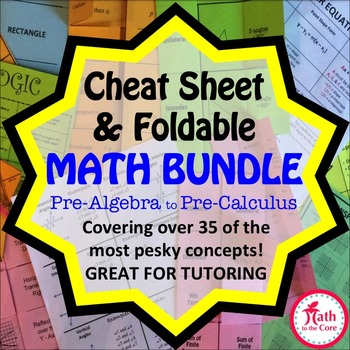 Active Note Taking and Math Cheat Sheets Notes for INB