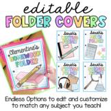 Folder Covers EDITABLE Math, Science, Reading, Writing, Homework, Data, Stations