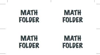Math Folder Labels K-6