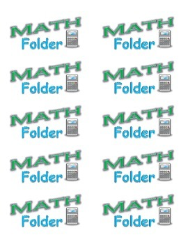 Math Folder and Writing Notebook Labels