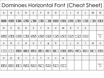Math Font - Dominoes Horizontal