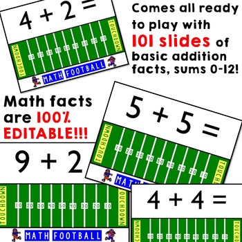 Math Football Addition Game ... editable and so fun!