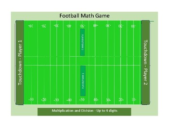 Math Football Game - Multiplication and Division - Up to 4 Digits