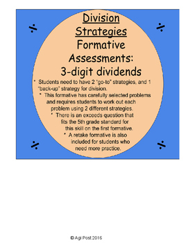 Math Assessments for Conceptual Division Strategies with 3