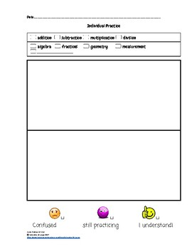 Math Forms for K-8 Students' Individualized Math Resource Notebooks