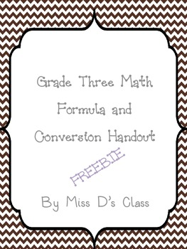 Grade 3 Math Formula and Conversion Sheet