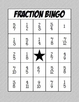 Fraction Bingo Class Set: Adding and Subtracting Fractions Common Denominator