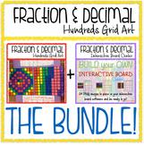 Math Fraction & Decimal 100s Grid BUNDLE: Activity + Interactive Board Center