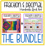Math Fraction & Decimal 100s Grid BUNDLE: Activity + Inter