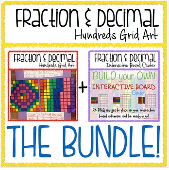 Math Fraction & Decimal 100s Grid BUNDLE: Activity + Inter