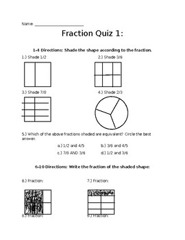 Math Fraction Quiz FREEBIE