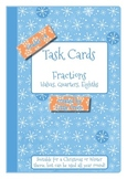 Math Fraction Task Cards - Halves, Quarters, Eighths - Christmas / Winter Theme