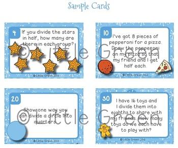 Math Fraction Task Cards - Halves, Quarters, Eighths - Christmas / Winter Theme