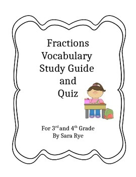 Math Fraction Vocabulary Study Guide and Worksheet