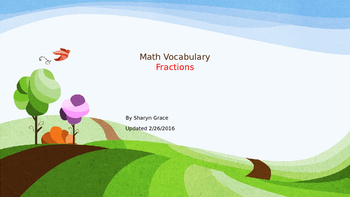 Math Fraction Vocabulary and Study Guide for 3rd - 6th Grade