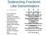 Math Fractions Cheat Sheets