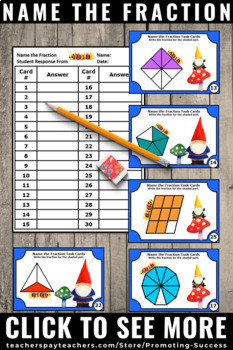 3rd Grade Fractions Task Cards, Visuals Picture Models, Fraction Games SCOOT