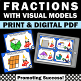 Picture Fractions Task Cards, 3rd Grade Math Review SCOOT, Gnomes Theme 3.NF.A.1