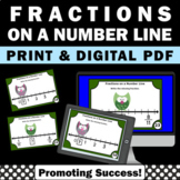 3rd Grade Fractions on a Number Line Task Cards, Owl Theme, Fraction Games SCOOT