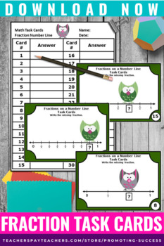 3rd Grade Fractions on a Number Line Task Cards TpT Digital Activities Printable